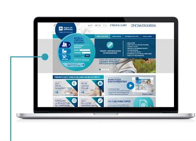 Fes clic a Ets un nou usuari? Dóna't d'alta ara, o vés a Tràmits i gestions i selecciona Dóna't d'alta a l'Oficina en Xarxa