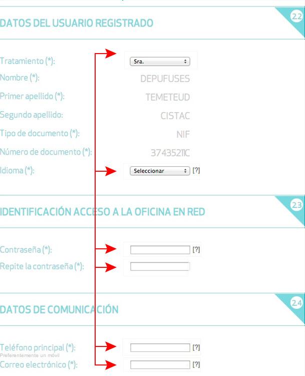 Cumplimenta los datos de usuario, los datos de acceso a la Oficina en Red y los datos de comunicación; elige si deseas recibir la Factura sin Papel y acepta las condiciones de uso