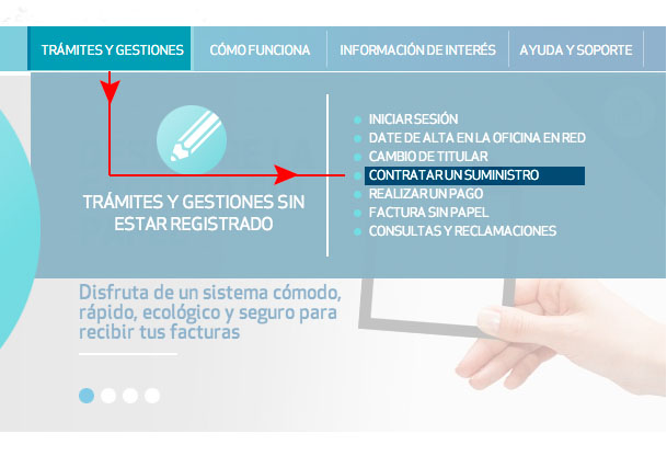 Haz clic en Trámites y gestiones y selecciona Contrata un suministro