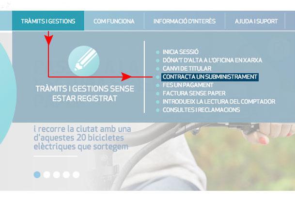 Fes clic a Tràmits i gestions i selecciona Contracta un subministrament