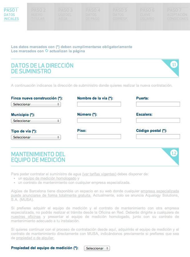 Cumplimenta los datos de la dirección de suministro (finca nueva, nombre de la vía, municipio, código postal...) y mantenimiento del equipo de medición (compra o alquiler)