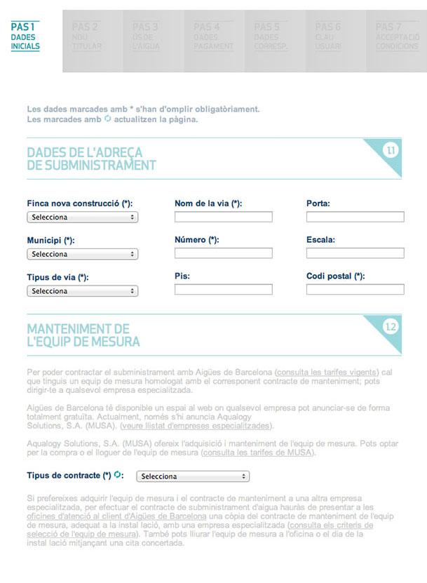 Emplena les dades de l'adreça de subministrament (finca nova, nom de la via, municipi, codi postal...) i manteniment de l'equip de mesura (compra o lloguer)