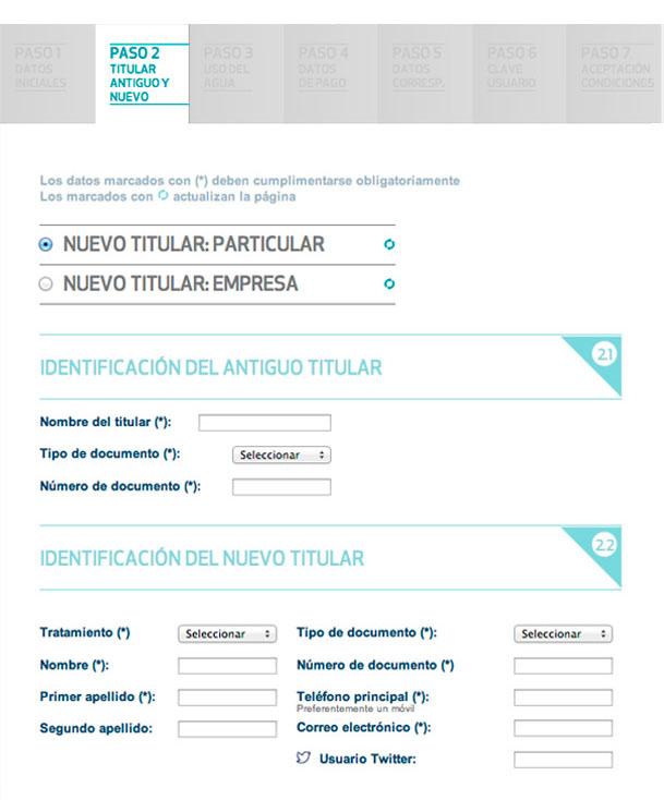 Cumplimenta los datos identificativos del antiguo y del nuevo titular (particular o empresa)