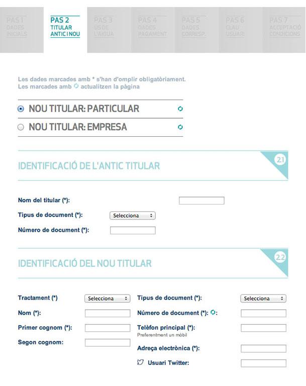 Emplena les dades identificatives del titular antic i del nou (particular o empresa)