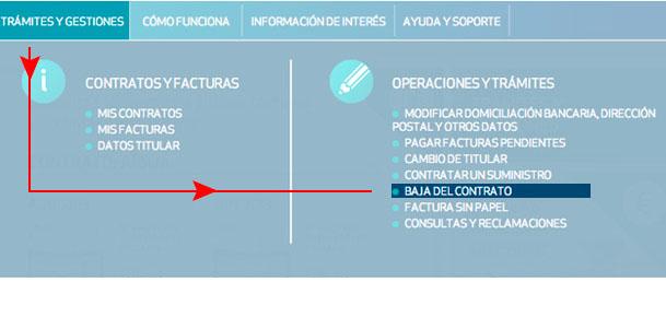 Haz clic en Trámites y gestiones y selecciona Baja del contrato