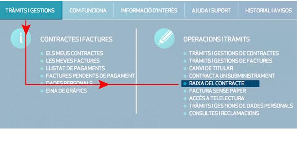 Fes clic a Tràmits i gestions i selecciona Baixa del contracte