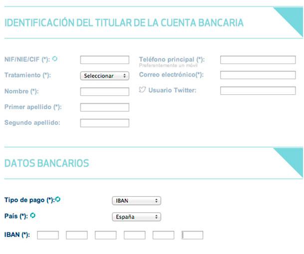 Cumplimenta los datos del titular de la cuenta bancaria, los datos bancarios, y confirma la petición