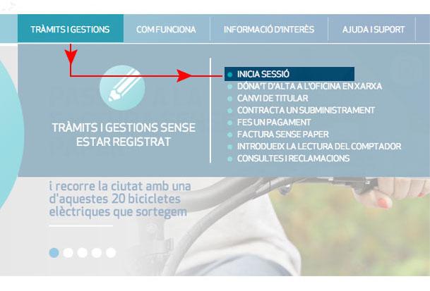 Pots accedir-hi fent clic a Tràmits i gestions i seleccionant Inicia sessió