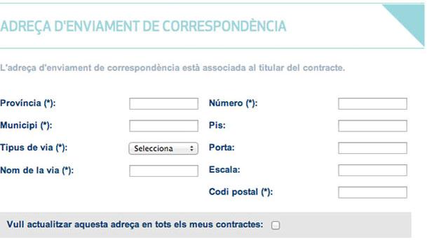 Emplena les noves dades de correspondència i confirma la petició